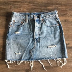 Levi's distressed denim skirt.